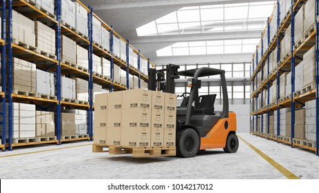 Forklift in warehouse with many boxes on a pallet (3D Rendering)
