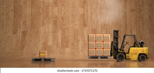 forklift in a warehouse moving boxes with chemical icon as symbol for testing against a virus - 3D rendered illustration