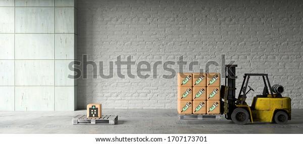 elevador de horquilla con cajas de madera e iconos de vacunación delante del fondo industrial con pared de ladrillo - ilustración 3D representada