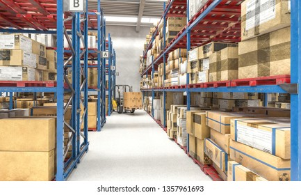 Forklift at work in a warehouse full of pallets and parcels, sorting logistics center. 3d render image.