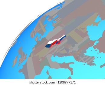Former Czechoslovakia with embedded national flags on globe. 3D illustration.