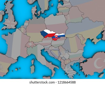 Former Czechoslovakia with embedded national flags on blue political 3D globe. 3D illustration.