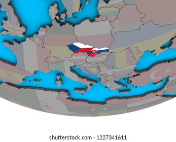 Former Czechoslovakia with embedded national flags on simple political 3D globe. 3D illustration.