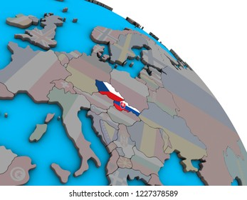 Former Czechoslovakia with embedded national flags on simple blue political 3D globe. 3D illustration.