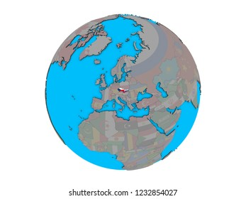 Former Czechoslovakia with embedded national flags on blue political 3D globe. 3D illustration isolated on white background.