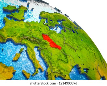 Former Czechoslovakia Highlighted on 3D Earth model with water and visible country borders. 3D illustration.