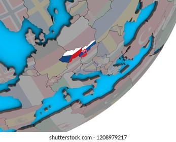 Former Czechoslovakia with national flags on blue political 3D globe. 3D illustration.