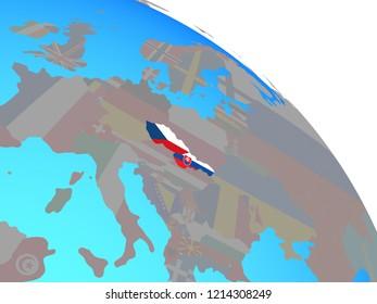 Former Czechoslovakia with national flags on simple blue political globe. 3D illustration.