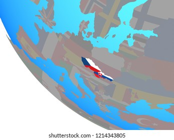 Former Czechoslovakia with national flags on simple globe. 3D illustration.