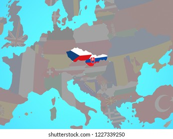 Former Czechoslovakia with national flags on blue political globe. 3D illustration.