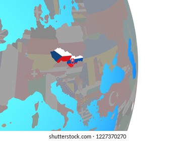 Former Czechoslovakia with national flags on simple political globe. 3D illustration.