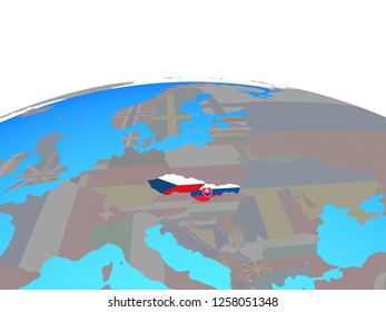 Former Czechoslovakia with national flags on political globe. 3D illustration.