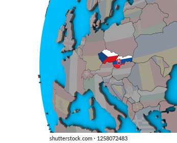 Former Czechoslovakia with national flags on blue political 3D globe. 3D illustration.