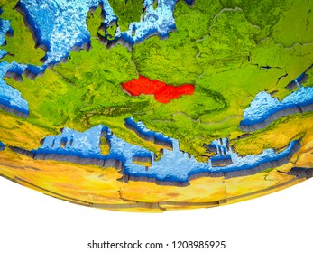 Former Czechoslovakia on 3D Earth with divided countries and watery oceans. 3D illustration.