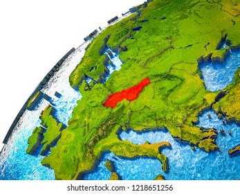 Former Czechoslovakia on 3D Earth model with visible country borders. 3D illustration.