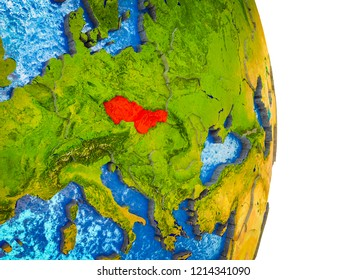 Former Czechoslovakia on 3D model of Earth with divided countries and blue oceans. 3D illustration.