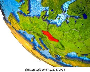 Former Czechoslovakia on model of Earth with country borders and blue oceans with waves. 3D illustration.