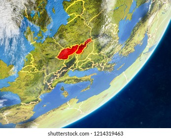 Former Czechoslovakia on model of planet Earth with country borders and very detailed planet surface and clouds. 3D illustration. Elements of this image furnished by NASA.