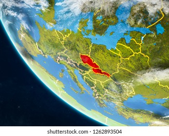 Former Czechoslovakia on planet Earth from space with country borders. Very fine detail of planet surface and clouds. 3D illustration. Elements of this image furnished by NASA.