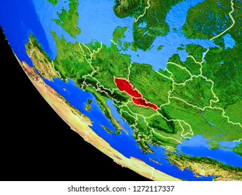 Former Czechoslovakia on realistic model of planet Earth with country borders and very detailed planet surface. 3D illustration. Elements of this image furnished by NASA.