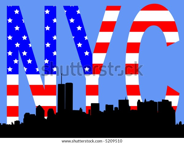 former Lower Manhattan skyline against American flag JPG
