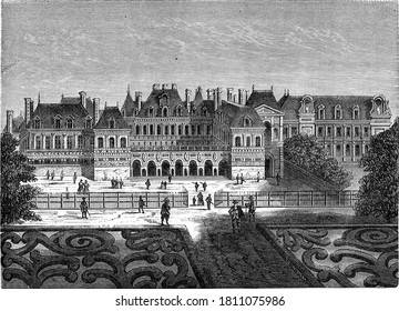 The former Palais-Cardinal (now Palais-Royal), Vintage engraving. From Popular France, 1869.