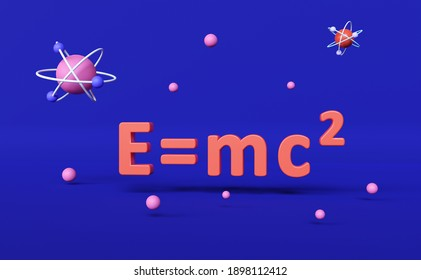 Formula of the relativity equation  ( E=mc2) on blue background. 3d render illustration. Science and education concept.