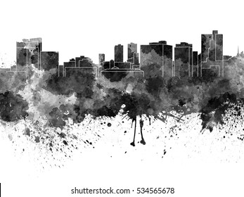 Fort Worth skyline in black watercolor