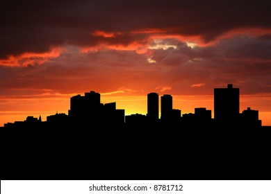 Fort Worth skyline at sunset with beautiful sky illustration