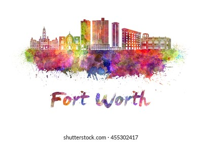 Fort Worth skyline in watercolor splatters with clipping path