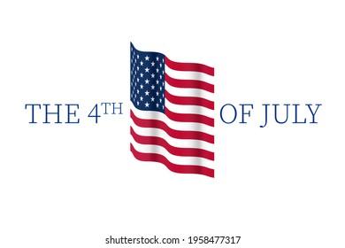 forth of july american flag text celebration invitation illustration card