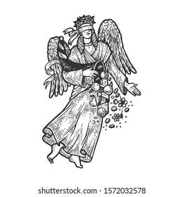 Fortuna ancient Greek goddess sketch engraving raster illustration. T-shirt apparel print design. Scratch board imitation. Black and white hand drawn image.