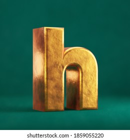 Fortuna Gold Letter H lowercase on Tidewater Green background. Trend color font type symbol. 3d render.
