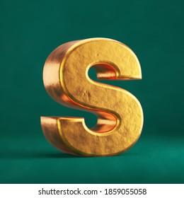 Fortuna Gold Letter S uppercase on Tidewater Green background. Trend color font type symbol. 3d render.