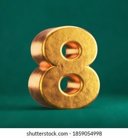 Fortuna Gold Number 8 on Tidewater Green background. Trend color font type symbol. 3d render.