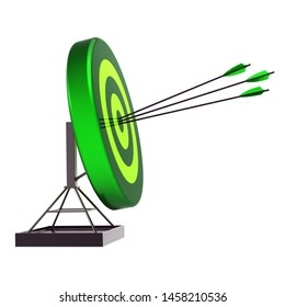 Fortune target hit by three arrows, success archery shooting green icon. Accuracy sniper hitting of bull's eye, efficiency, lucky concept. 3d rendering
