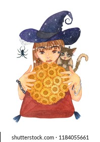Fortuneteller Witch and Zombie Cat with Sunflower Ball Watercolor. Illustration isolated on White Background.