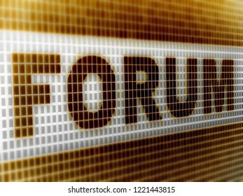 """""""Forum"""" in the screen. 3D Illustration."""