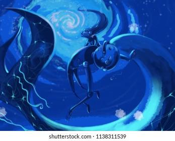 Fosdinovo/ Italy - july 19 2018: little mermaid saves Pinocchio from deep blue ocean