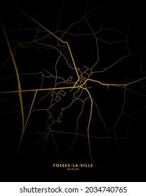 Fosses-la-Ville, Belgium City Map Style Gold - Fosses-la-Ville City Map Poster Wall Art Home Decor - Fosses-la-Ville City Gold Map
