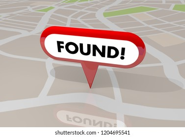 Found Located Searched Location Map Pin 3d Illustration
