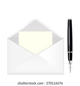 Fountain writing pen and open envelope with paper. isolated on white background. Raster version