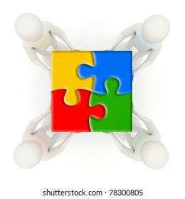 Four 3d men holding colorful, assembled jigsaw puzzle pieces