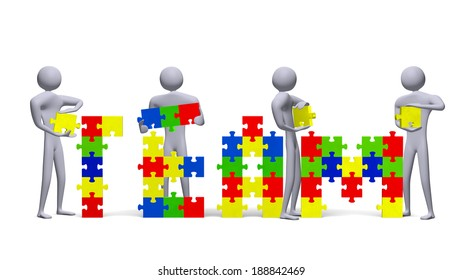 Four 3d people assembling team text of multicolor puzzle pieces