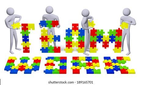 Four 3d people assembling teamwork text of multicolor puzzle pieces