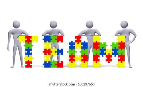 Four 3d people near team text assembled of multicolor puzzle pieces