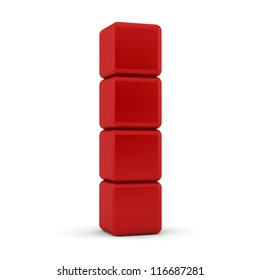 Four 3d simple red cubes with blank faces and equilateral sides that are bevelled , rounded and shaped stacked one on top of the other in a tower formation on a white background