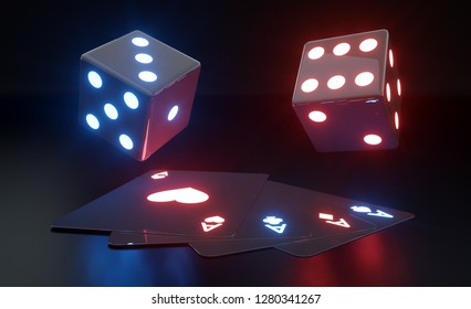 Four Aces And Dices With Futuristic Glowing Neon Lights Isolated On The Black Background - 3D Illustration