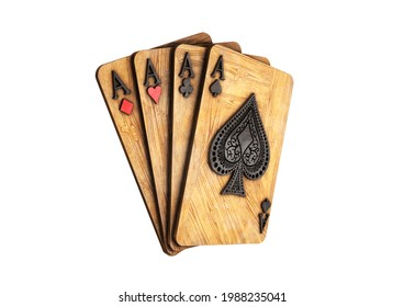 Four aces in five playing card with black gold design on background. chip gold 3d model illustration 3d render