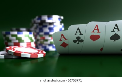 four aces high on green table with chips
